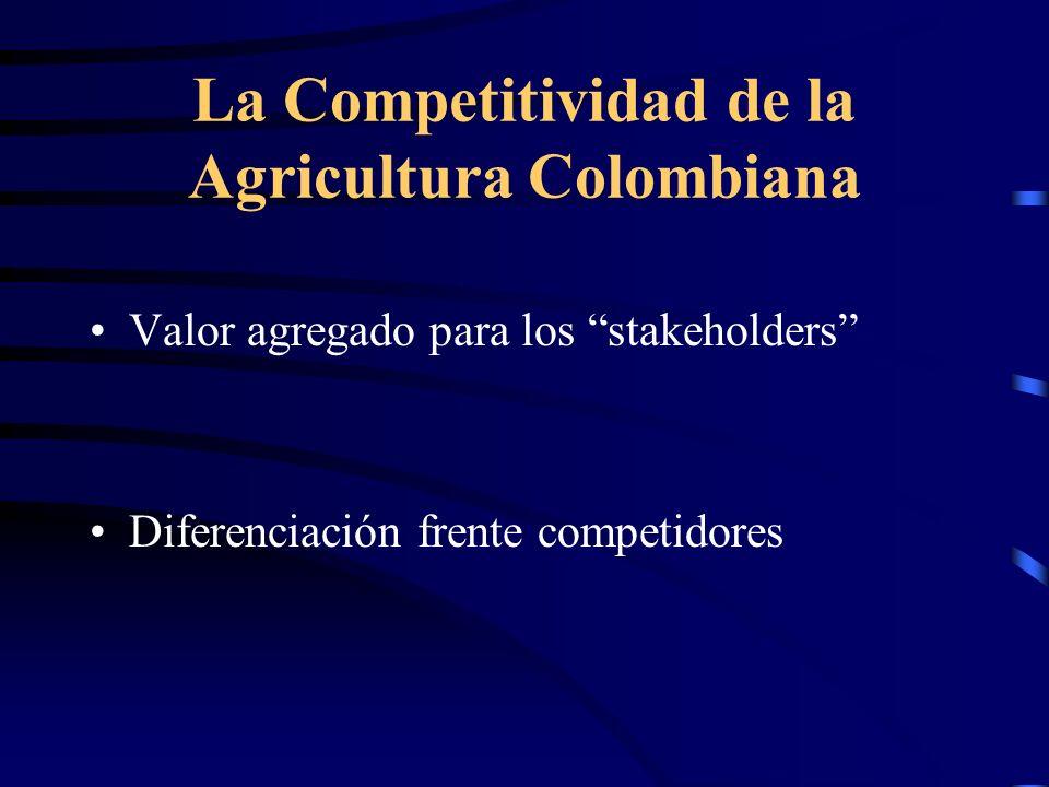 La Competitividad de la Agricultura Colombiana Valor agregado para los stakeholders Diferenciación frente competidores