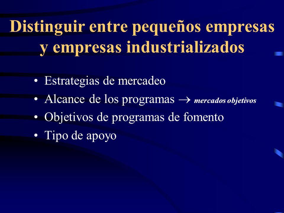 Distinguir entre pequeños empresas y empresas industrializados Estrategias de mercadeo Alcance de los programas mercados objetivos Objetivos de progra