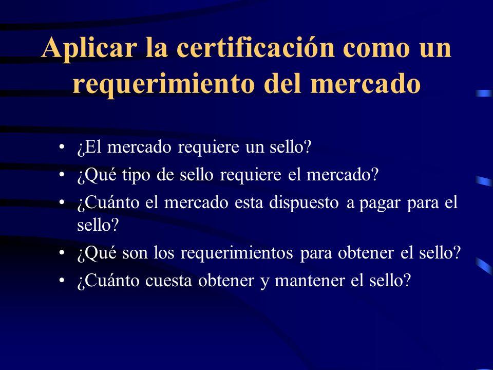 Aplicar la certificación como un requerimiento del mercado ¿El mercado requiere un sello? ¿Qué tipo de sello requiere el mercado? ¿Cuánto el mercado e