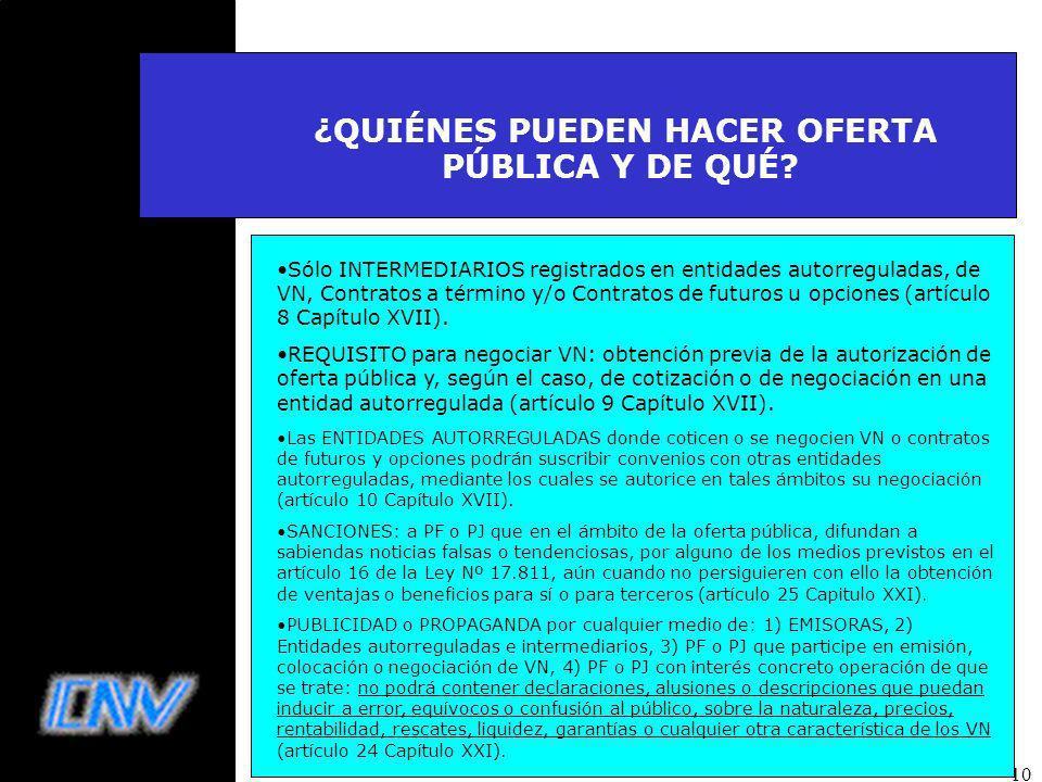 10 ¿QUIÉNES PUEDEN HACER OFERTA PÚBLICA Y DE QUÉ.