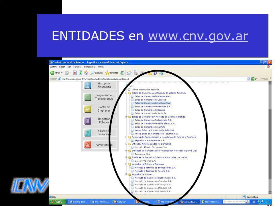 16 ENTIDADES en www.cnv.gov.arwww.cnv.gov.ar