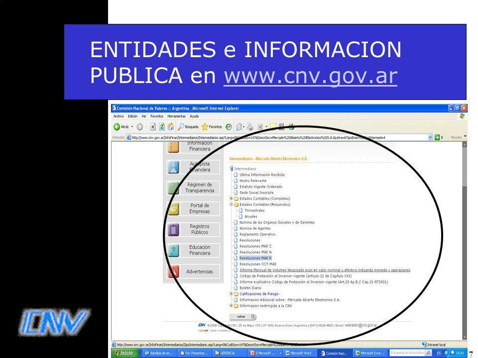 17 ENTIDADES e INFORMACION PUBLICA en www.cnv.gov.arwww.cnv.gov.ar