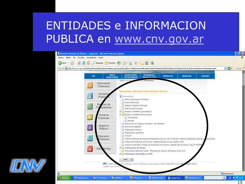 18 ENTIDADES e INFORMACION PUBLICA en www.cnv.gov.arwww.cnv.gov.ar