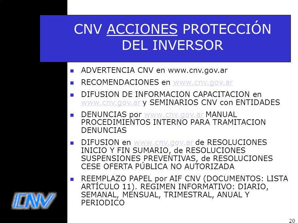 20 n ADVERTENCIA CNV en www.cnv.gov.ar n RECOMENDACIONES en www.cnv.gov.arwww.cnv.gov.ar n DIFUSION DE INFORMACION CAPACITACION en www.cnv.gov.ar y SEMINARIOS CNV con ENTIDADES www.cnv.gov.ar n DENUNCIAS por www.cnv.gov.ar MANUAL PROCEDIMIENTOS INTERNO PARA TRAMITACION DENUNCIASwww.cnv.gov.ar n DIFUSION en www.cnv.gov.ar de RESOLUCIONES INICIO Y FIN SUMARIO, de RESOLUCIONES SUSPENSIONES PREVENTIVAS, de RESOLUCIONES CESE OFERTA PÚBLICA NO AUTORIZADAwww.cnv.gov.ar n REEMPLAZO PAPEL por AIF CNV (DOCUMENTOS: LISTA ARTÍCULO 11).