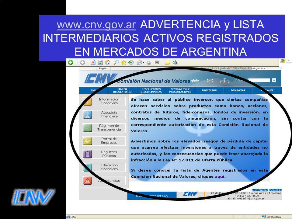 21 www.cnv.gov.arwww.cnv.gov.ar ADVERTENCIA y LISTA INTERMEDIARIOS ACTIVOS REGISTRADOS EN MERCADOS DE ARGENTINA