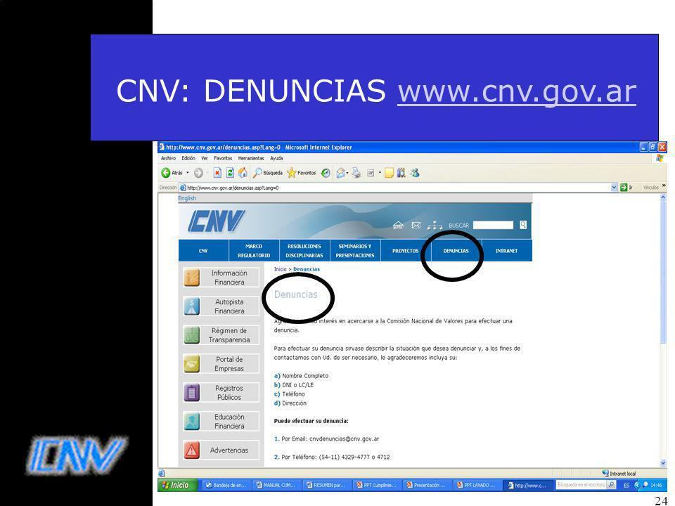 24 CNV: DENUNCIAS www.cnv.gov.arwww.cnv.gov.ar