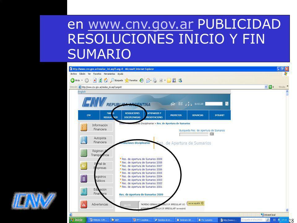 28 en www.cnv.gov.ar PUBLICIDAD RESOLUCIONES INICIO Y FIN SUMARIOwww.cnv.gov.ar