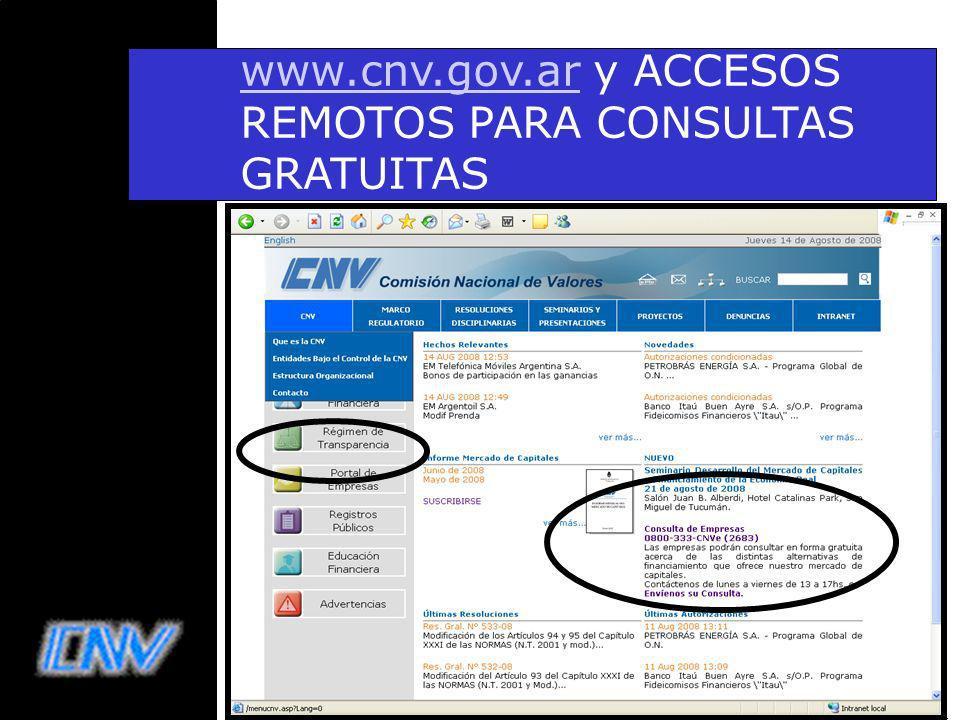 31 www.cnv.gov.arwww.cnv.gov.ar y ACCESOS REMOTOS PARA CONSULTAS GRATUITAS