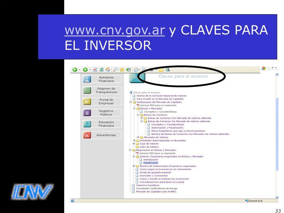 33 www.cnv.gov.arwww.cnv.gov.ar y CLAVES PARA EL INVERSOR