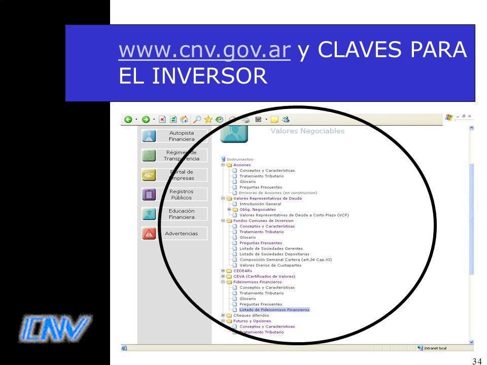 34 www.cnv.gov.arwww.cnv.gov.ar y CLAVES PARA EL INVERSOR