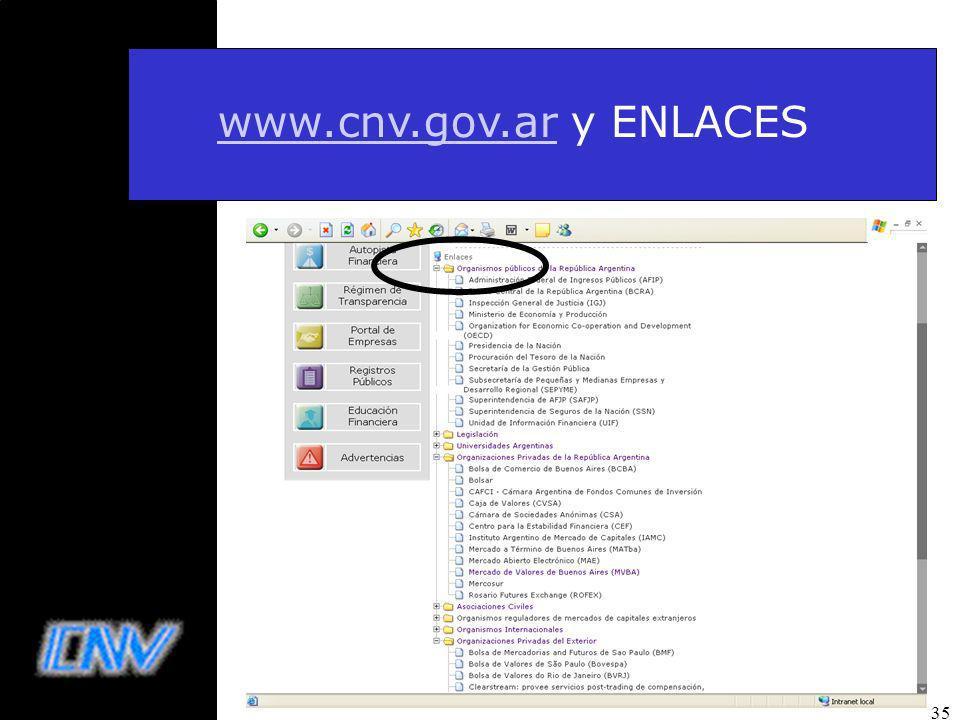 35 www.cnv.gov.arwww.cnv.gov.ar y ENLACES