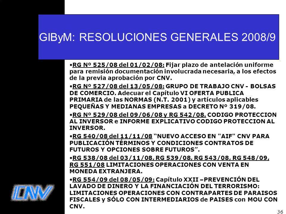 36 GIByM: RESOLUCIONES GENERALES 2008/9 RG Nº 525/08 del 01/02/08: Fijar plazo de antelación uniforme para remisión documentación involucrada necesaria, a los efectos de la previa aprobación por CNV.