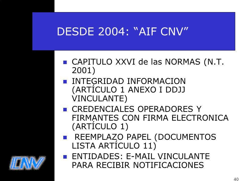 40 DESDE 2004: AIF CNV n CAPITULO XXVI de las NORMAS (N.T.