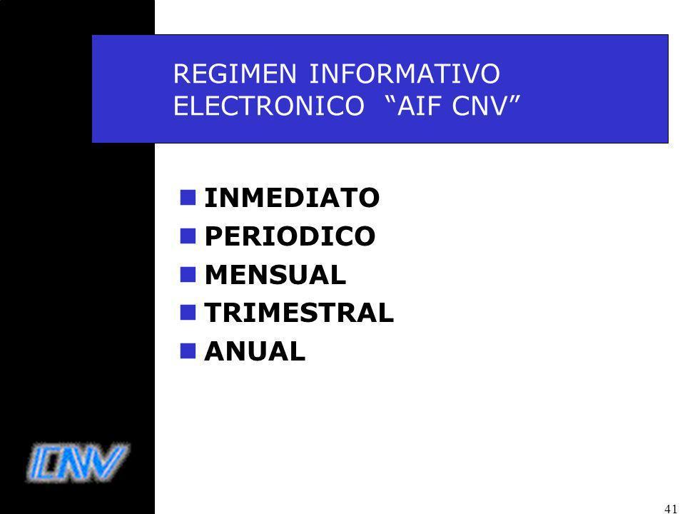 41 REGIMEN INFORMATIVO ELECTRONICO AIF CNV nINMEDIATO nPERIODICO nMENSUAL nTRIMESTRAL nANUAL