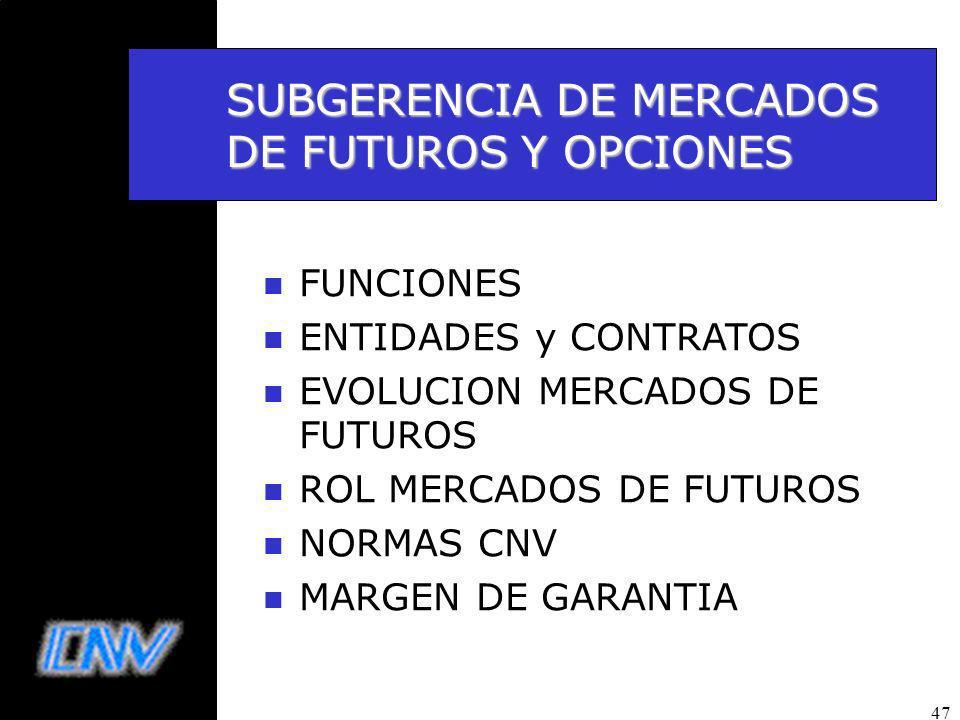 47 SUBGERENCIA DE MERCADOS DE FUTUROS Y OPCIONES n FUNCIONES n ENTIDADES y CONTRATOS n EVOLUCION MERCADOS DE FUTUROS n ROL MERCADOS DE FUTUROS n NORMAS CNV n MARGEN DE GARANTIA