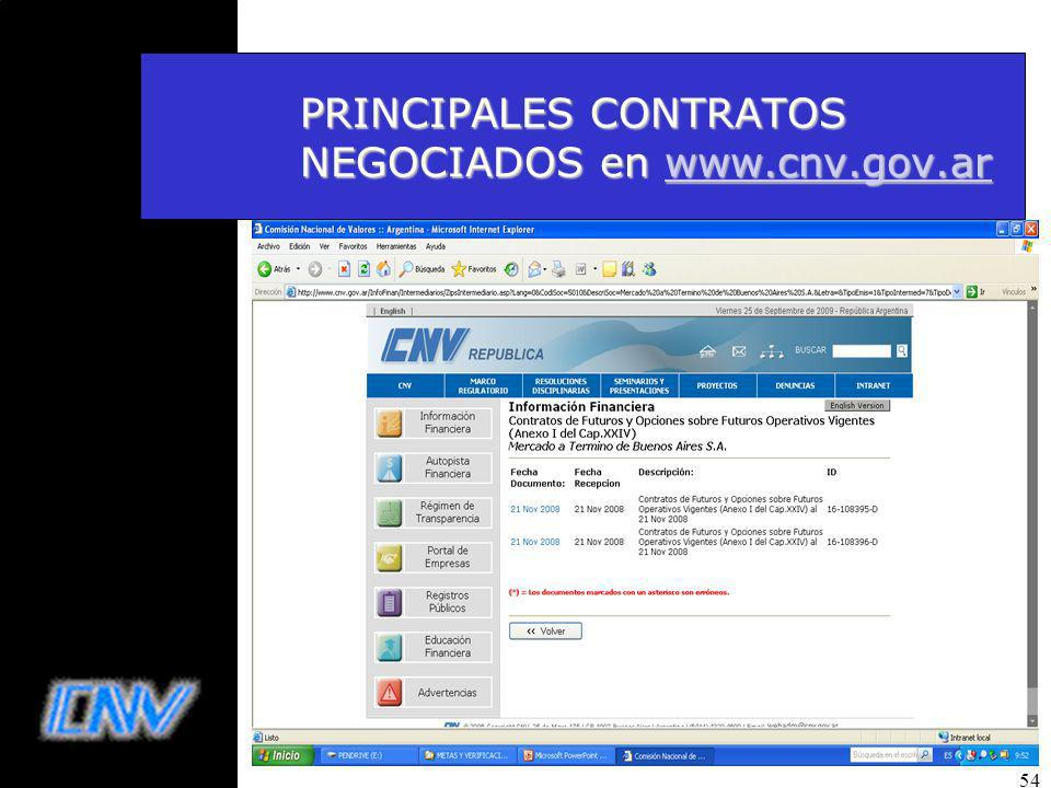 54 PRINCIPALES CONTRATOS NEGOCIADOS en www.cnv.gov.ar www.cnv.gov.ar