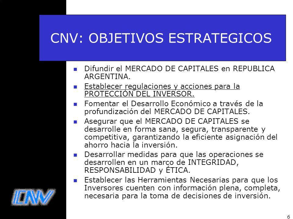 6 CNV: OBJETIVOS ESTRATEGICOS n Difundir el MERCADO DE CAPITALES en REPUBLICA ARGENTINA.