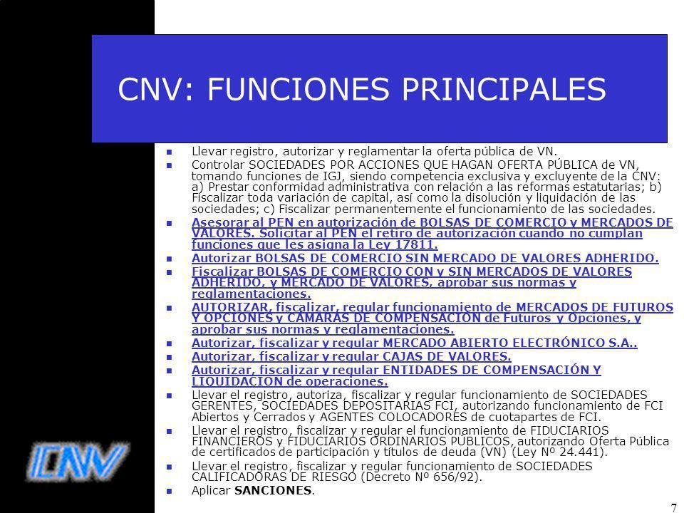 7 CNV: FUNCIONES PRINCIPALES n Llevar registro, autorizar y reglamentar la oferta pública de VN.