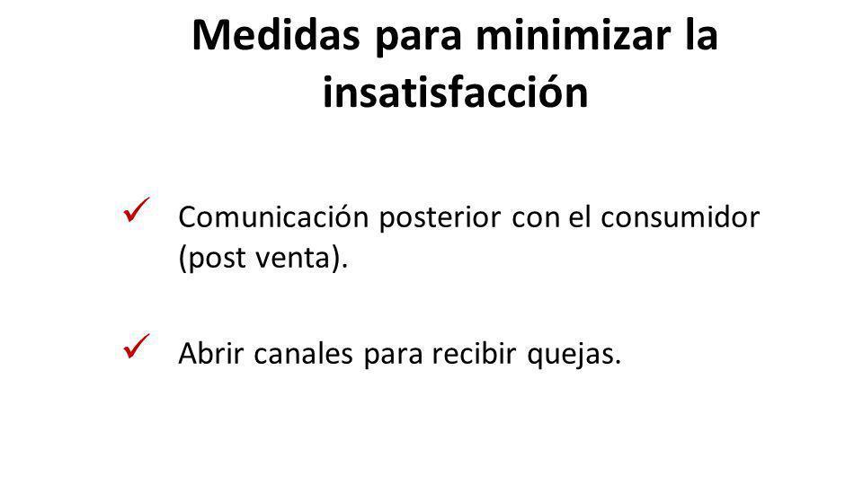 Medidas para minimizar la insatisfacción Comunicación posterior con el consumidor (post venta). Abrir canales para recibir quejas.