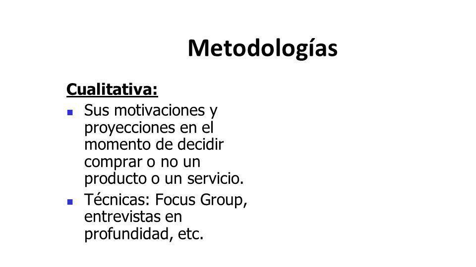 Metodologías Cualitativa: Sus motivaciones y proyecciones en el momento de decidir comprar o no un producto o un servicio. Técnicas: Focus Group, entr