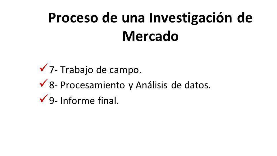 Proceso de una Investigación de Mercado 7- Trabajo de campo. 8- Procesamiento y Análisis de datos. 9- Informe final.