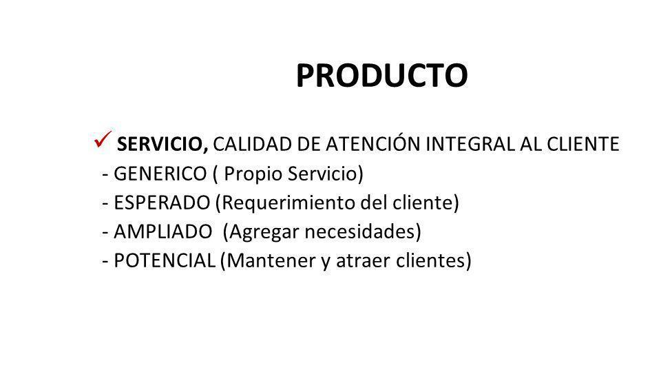 PRODUCTO SERVICIO, CALIDAD DE ATENCIÓN INTEGRAL AL CLIENTE - GENERICO ( Propio Servicio) - ESPERADO (Requerimiento del cliente) - AMPLIADO (Agregar necesidades) - POTENCIAL (Mantener y atraer clientes)