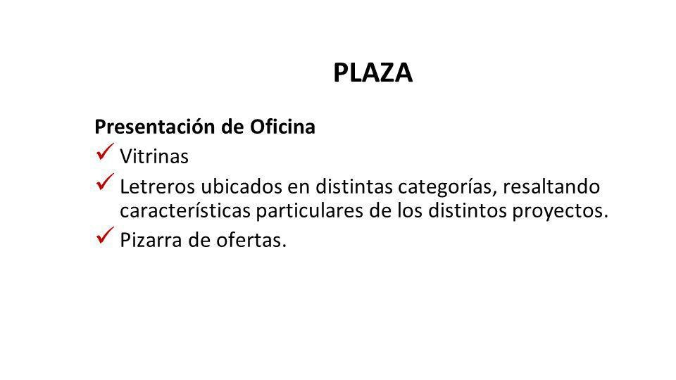 PLAZA Presentación de Oficina Vitrinas Letreros ubicados en distintas categorías, resaltando características particulares de los distintos proyectos.