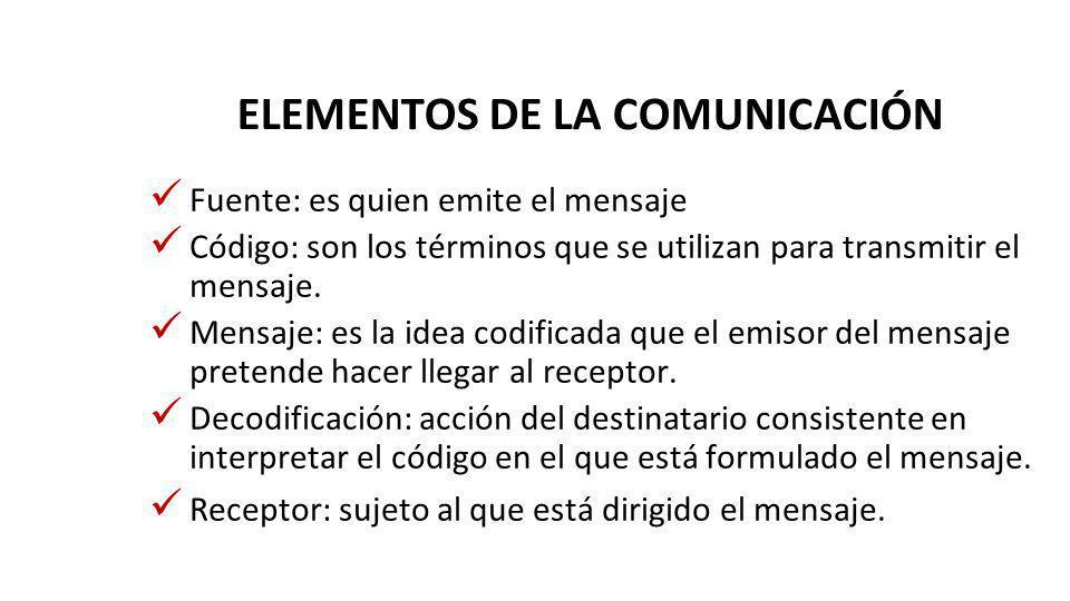 ELEMENTOS DE LA COMUNICACIÓN Fuente: es quien emite el mensaje Código: son los términos que se utilizan para transmitir el mensaje. Mensaje: es la ide