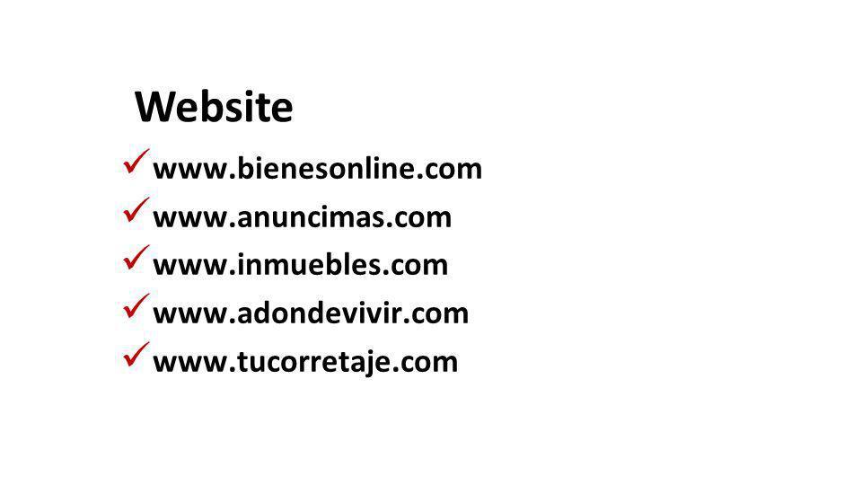 Website www.bienesonline.com www.anuncimas.com www.inmuebles.com www.adondevivir.com www.tucorretaje.com