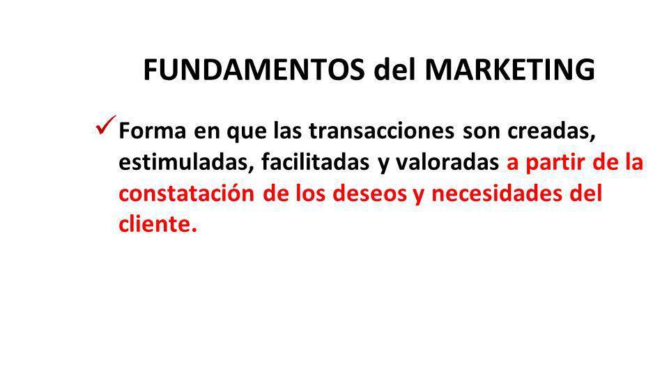 FUNDAMENTOS del MARKETING Forma en que las transacciones son creadas, estimuladas, facilitadas y valoradas a partir de la constatación de los deseos y necesidades del cliente.