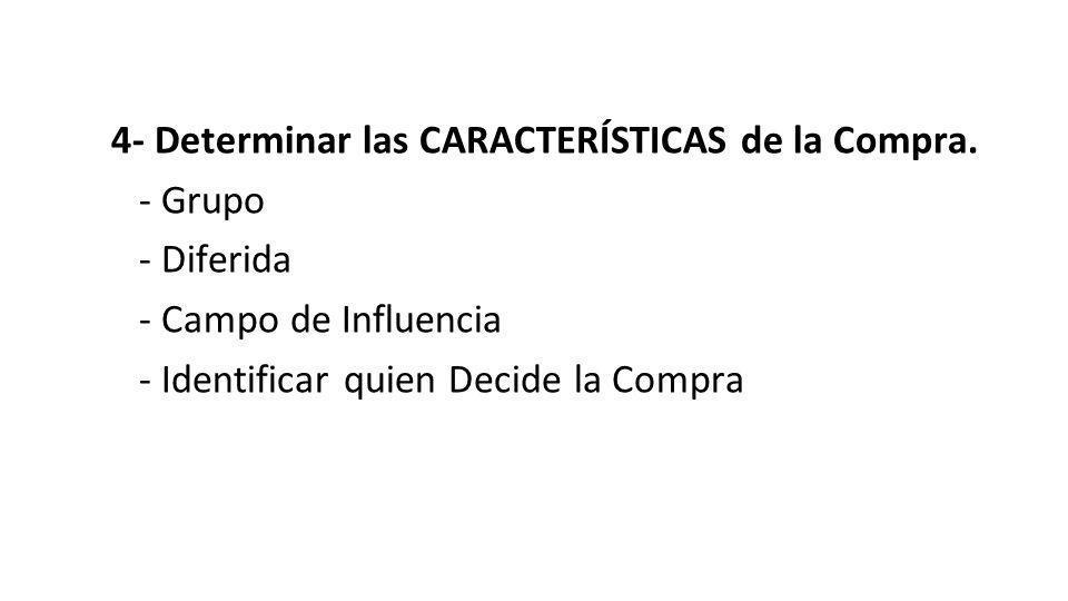 4- Determinar las CARACTERÍSTICAS de la Compra. - Grupo - Diferida - Campo de Influencia - Identificar quien Decide la Compra