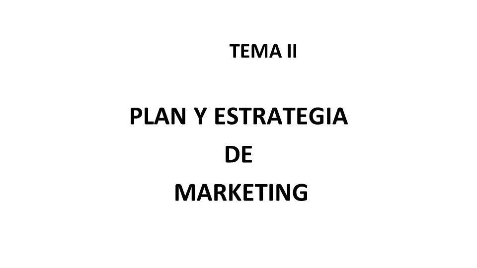 TEMA II PLAN Y ESTRATEGIA DE MARKETING