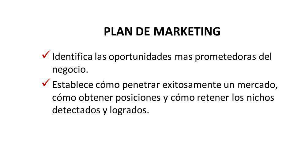 PLAN DE MARKETING Identifica las oportunidades mas prometedoras del negocio.