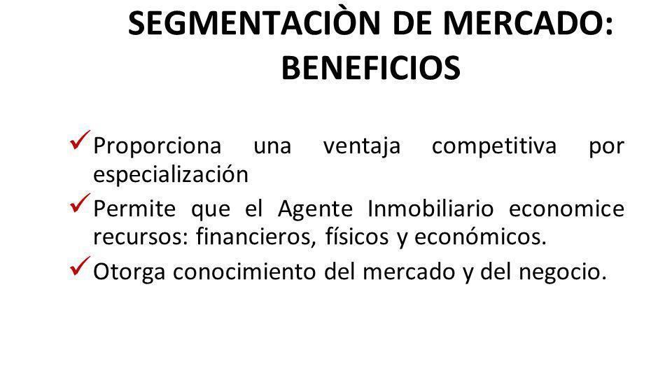 SEGMENTACIÒN DE MERCADO: BENEFICIOS Proporciona una ventaja competitiva por especialización Permite que el Agente Inmobiliario economice recursos: financieros, físicos y económicos.