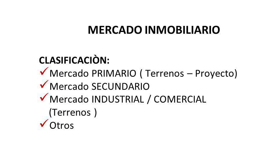 MERCADO INMOBILIARIO CLASIFICACIÒN: Mercado PRIMARIO ( Terrenos – Proyecto) Mercado SECUNDARIO Mercado INDUSTRIAL / COMERCIAL (Terrenos ) Otros