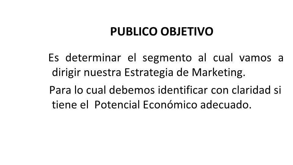 PUBLICO OBJETIVO Es determinar el segmento al cual vamos a dirigir nuestra Estrategia de Marketing. Para lo cual debemos identificar con claridad si t