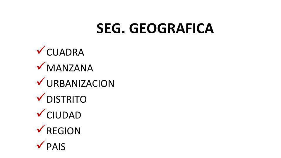 SEG. GEOGRAFICA CUADRA MANZANA URBANIZACION DISTRITO CIUDAD REGION PAIS