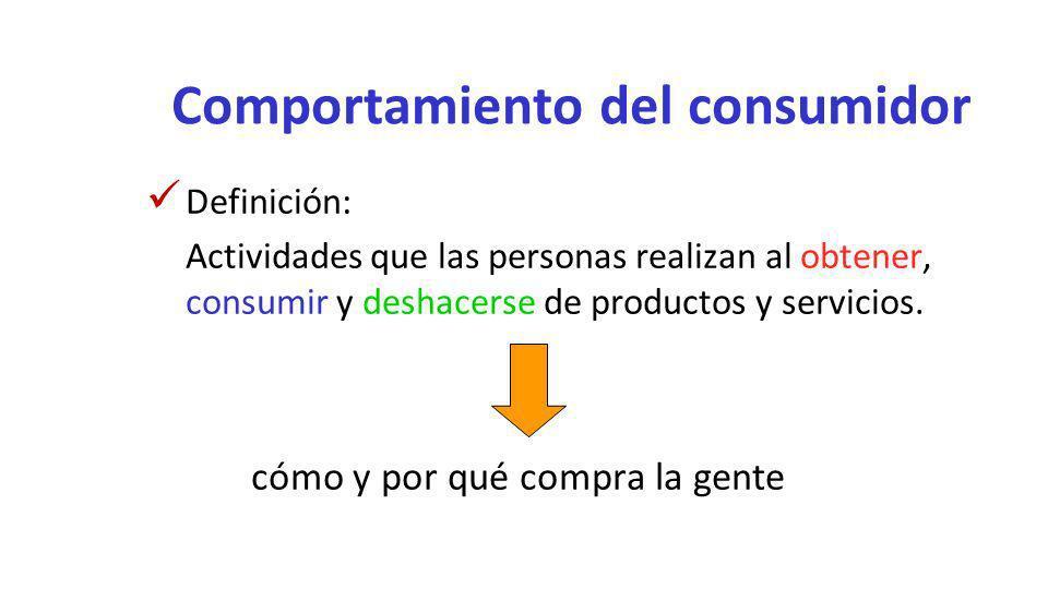 Comportamiento del consumidor Definición: Actividades que las personas realizan al obtener, consumir y deshacerse de productos y servicios. cómo y por
