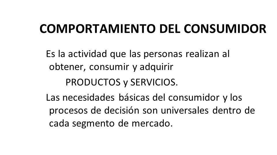 COMPORTAMIENTO DEL CONSUMIDOR Es la actividad que las personas realizan al obtener, consumir y adquirir PRODUCTOS y SERVICIOS. Las necesidades básicas