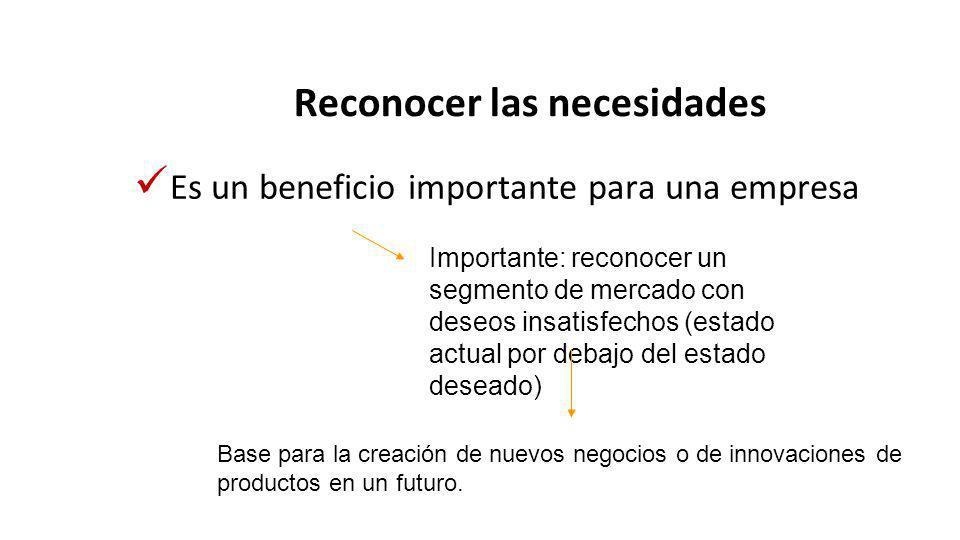 Reconocer las necesidades Es un beneficio importante para una empresa Importante: reconocer un segmento de mercado con deseos insatisfechos (estado actual por debajo del estado deseado) Base para la creación de nuevos negocios o de innovaciones de productos en un futuro.