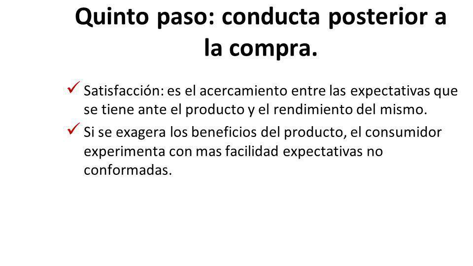 Quinto paso: conducta posterior a la compra. Satisfacción: es el acercamiento entre las expectativas que se tiene ante el producto y el rendimiento de