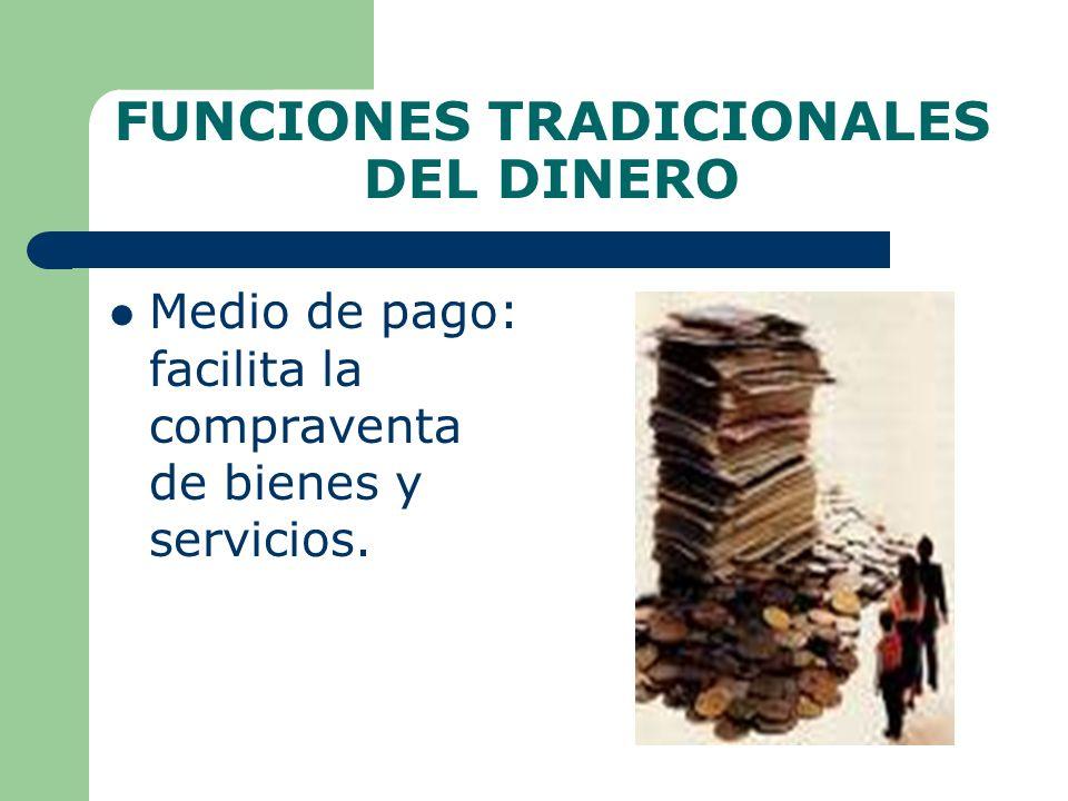 FUNCIONES TRADICIONALES DEL DINERO Medio de pago: facilita la compraventa de bienes y servicios.