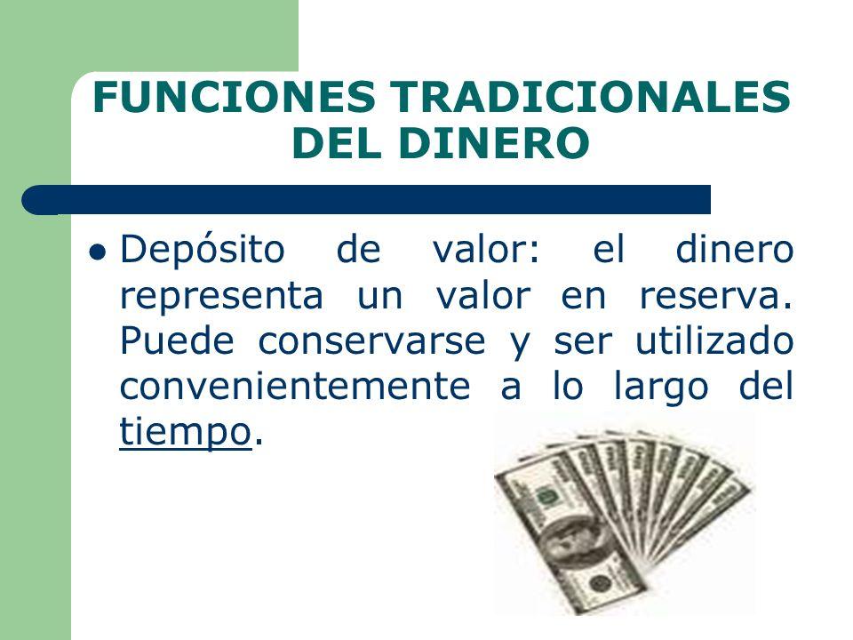 FUNCIONES TRADICIONALES DEL DINERO Depósito de valor: el dinero representa un valor en reserva.