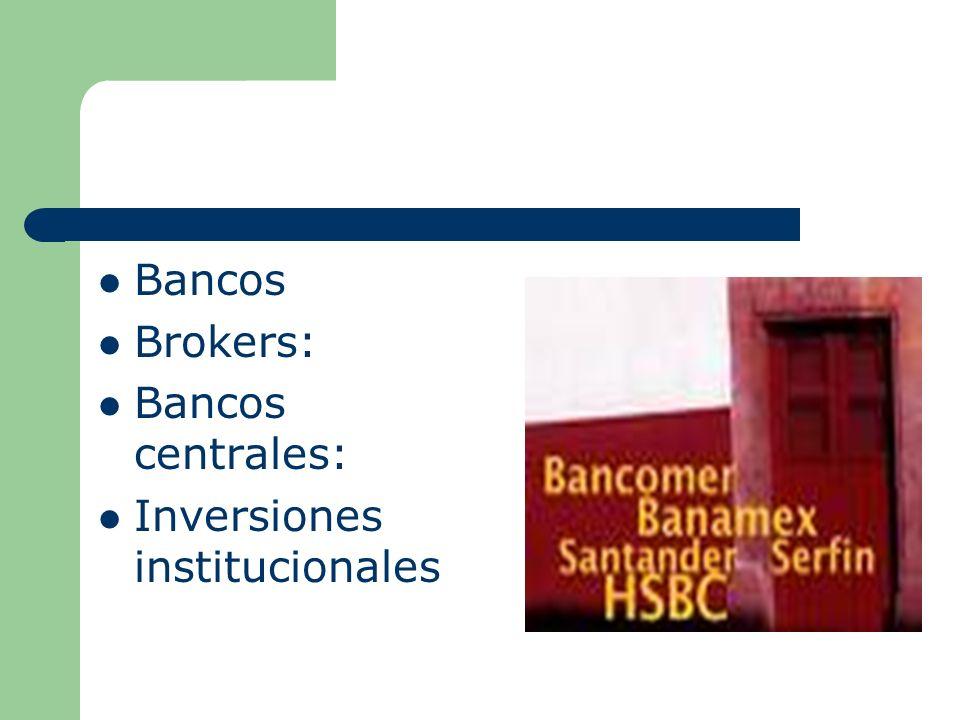 Bancos Brokers: Bancos centrales: Inversiones institucionales
