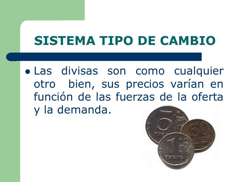 SISTEMA TIPO DE CAMBIO Las divisas son como cualquier otro bien, sus precios varían en función de las fuerzas de la oferta y la demanda.