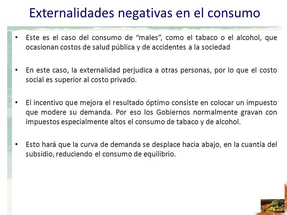 Externalidades negativas en el consumo Este es el caso del consumo de males, como el tabaco o el alcohol, que ocasionan costos de salud pública y de accidentes a la sociedad En este caso, la externalidad perjudica a otras personas, por lo que el costo social es superior al costo privado.