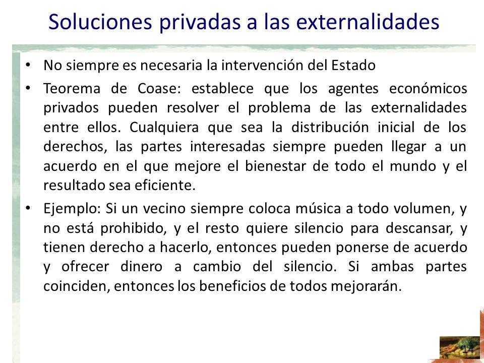 Soluciones privadas a las externalidades No siempre es necesaria la intervención del Estado Teorema de Coase: establece que los agentes económicos privados pueden resolver el problema de las externalidades entre ellos.