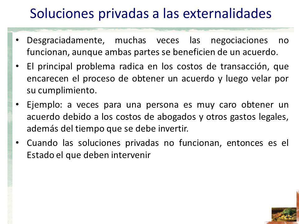 Soluciones privadas a las externalidades Desgraciadamente, muchas veces las negociaciones no funcionan, aunque ambas partes se beneficien de un acuerdo.