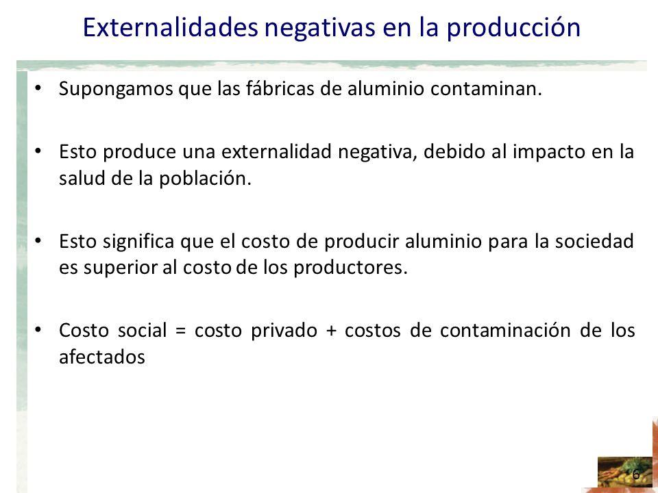 Figura Contaminación y el óptimo social 2 7 Precio Cantidad 0 Demanda (valor privado) Oferta (costo privado) En presencia de una externalidad negativa, tal como la contaminación, el costo social de producir supera el costo privado.