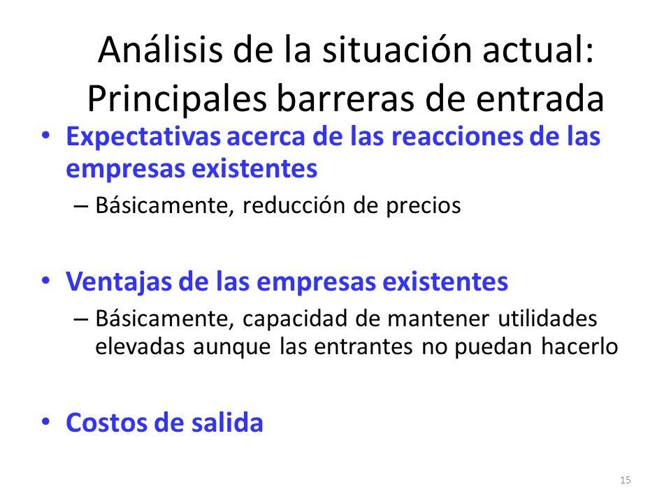 15 Análisis de la situación actual: Principales barreras de entrada Expectativas acerca de las reacciones de las empresas existentes – Básicamente, re